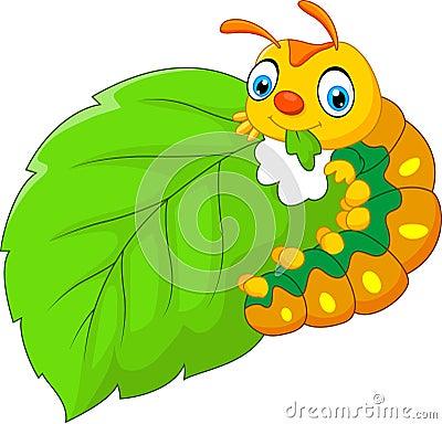Free Cartoon Caterpillar Eating Leaf Royalty Free Stock Photo - 74891505