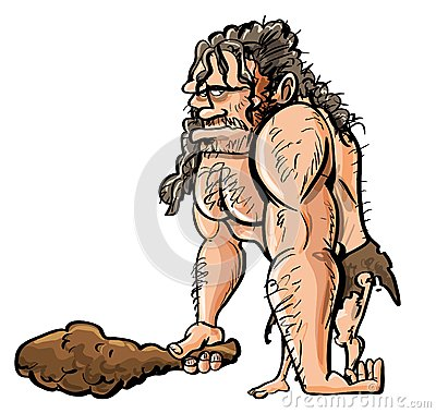 Cartoon caveman with wooden club