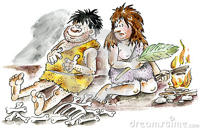Cartoon cavemen and woman