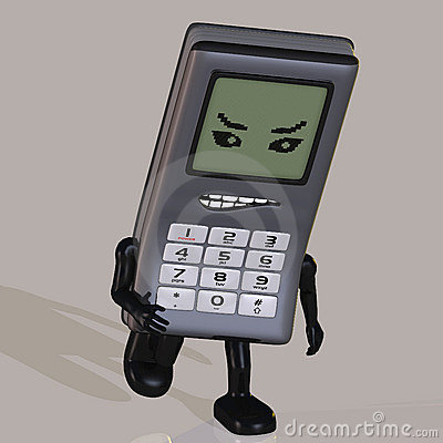 Cartoon cell phone with cute and funny emotional f