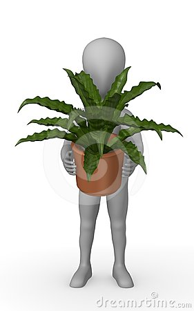 Cartoon character with asplenium plant