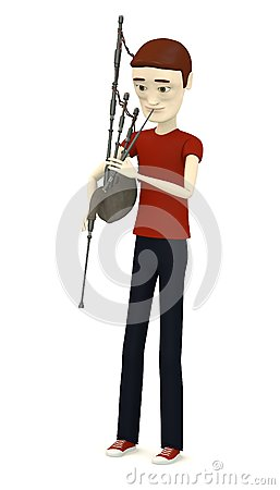 Cartoon character with bagpipe