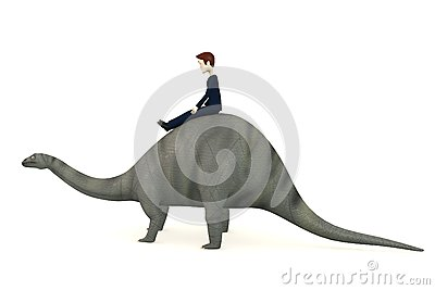 Cartoon Character On Brontosaurus Stock Images - Image: 29301854