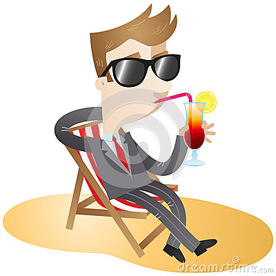 Free Cartoon Character: Businessman On The Beach Stock Photo - 37465360