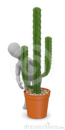 Cartoon character with cactus - hiding behind
