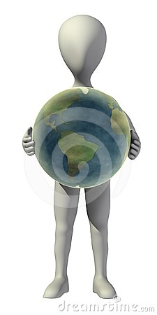 Cartoon character with earth in hands