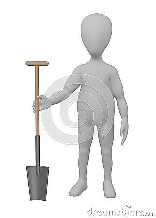 Cartoon character with farming tool - shovel