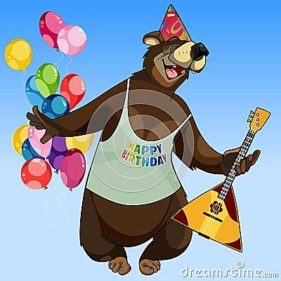 Free Cartoon Character Happy Bear With A Balalaika On Holiday Stock Photos - 89511693
