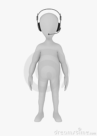 Cartoon character with headphones - operator