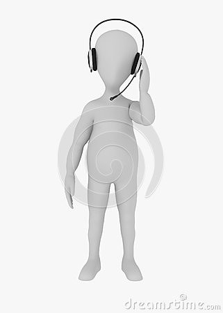 Cartoon character with headphones - operator speak