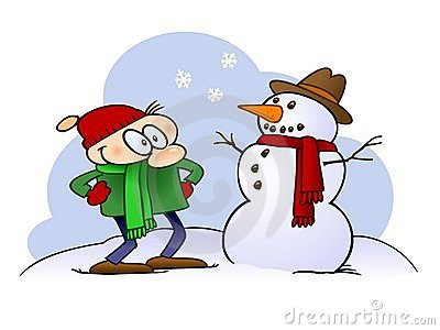 Cartoon character looking at a snowman