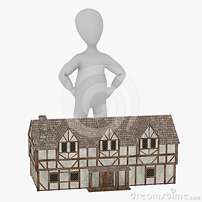 Cartoon character with medieval building 14