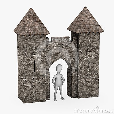 Cartoon character with medieval building - gate