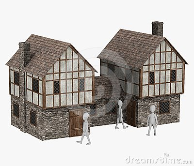 Cartoon character with medieval building20
