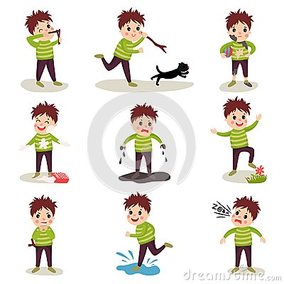 Free Cartoon Character Of Naughty Kid Set, Playing Games And Making Mess Royalty Free Stock Image - 103449606