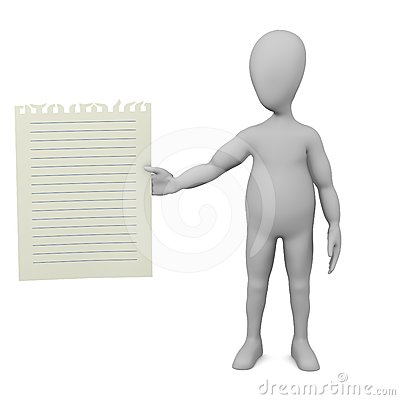 Cartoon character with piece of paper (with blue l