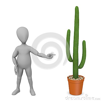 Cartoon character with saguaro (and pot)