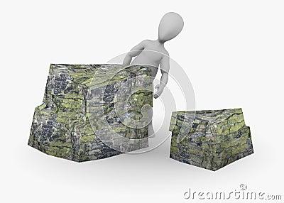 Cartoon character with stone (hiding)