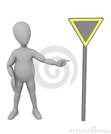 Cartoon character with traffic sign 14