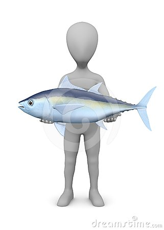 Cartoon character with tuna fish (nice catch)
