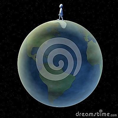 Cartoon character walking on earth