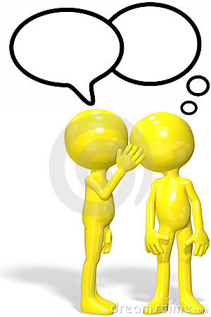 Cartoon character whispers gossip secrets
