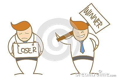 Cartoon character winner loser