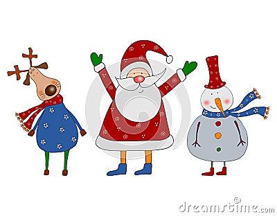 Cartoon characters. Christmas card