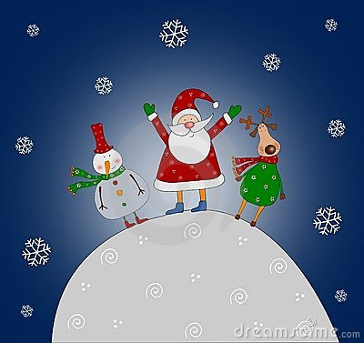 Cartoon characters. Christmas card