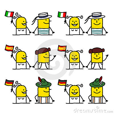 Cartoon characters - European people