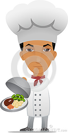 Cartoon chef with main course