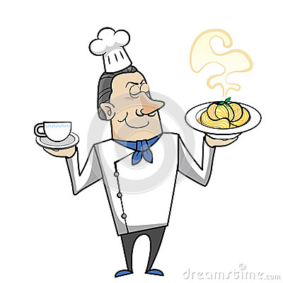 Cartoon chef with pasta bowl and coffee