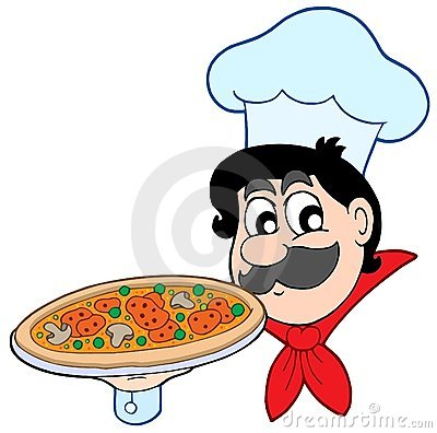Free Cartoon Chef With Pizza Stock Images - 8524604