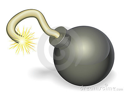 Cartoon cherry bomb with lit fuse