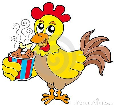 Cartoon chicken with meal box
