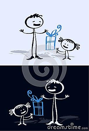 Cartoon child & dad
