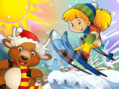 The cartoon child downhill jump - with christmas characters
