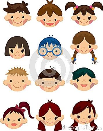 Cartoon child face icon