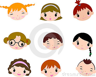 Cartoon child faces set