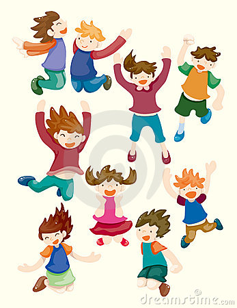 Cartoon child jump icons
