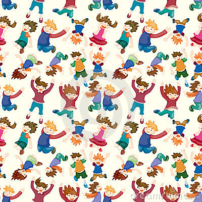 Free Cartoon Child Jump Seamless Pattern Royalty Free Stock Images - 21766409