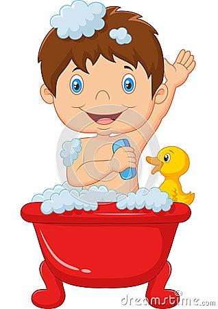 cartoon child taking a bath stock vector image 53892585 Pond Rubber Duck Halloween Cartoon Cartoon Pond of Water