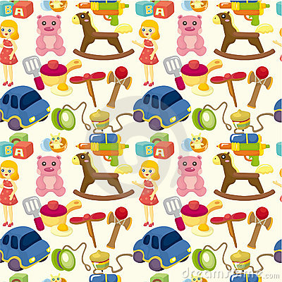Cartoon child toy seamless pattern