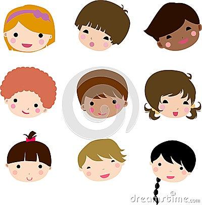 Free Cartoon Children Face Royalty Free Stock Photos - 11952078