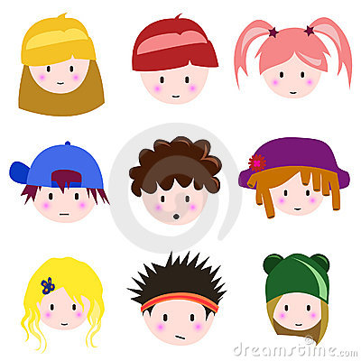 Cartoon children face