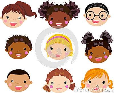 Cartoon children face