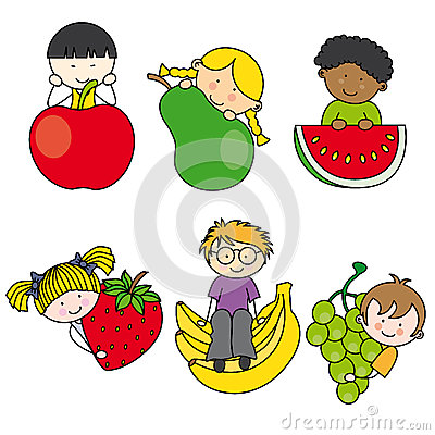 Children with fruits