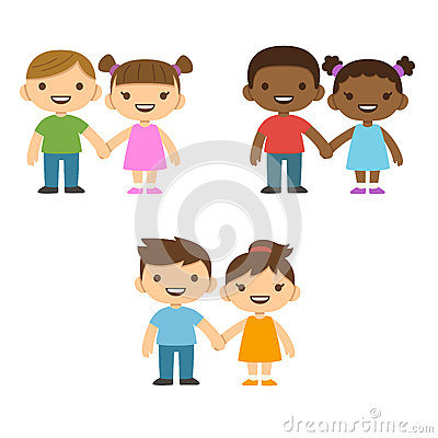 Free Cartoon Children Holding Hands Stock Photography - 57038842