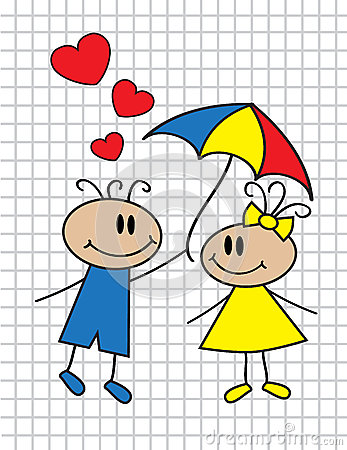 Cartoon children with umbrella