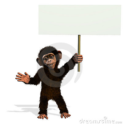 Cartoon Chimp with Blank Sign